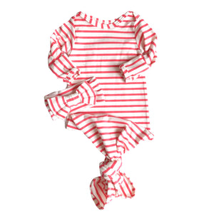 Bright Pink and White Stripe Knotted Bottom Baby Layette Gown