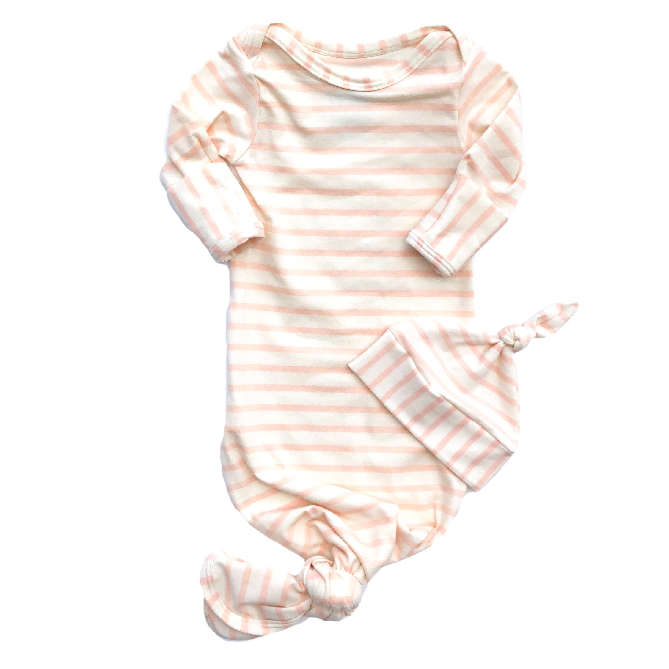 Blush Pink Stripe Knotted Bottom Baby Layette Gown - Oh So Vera