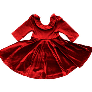 Holiday Deep Red Velvet Skirt Twirl Dress
