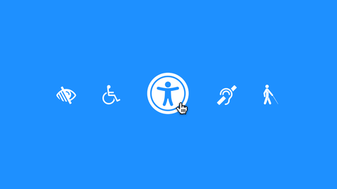 Accessibility Image. Blue background with eye, wheelchair, hearing and motor impaired icons.