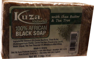 African Black Soap - Kuza Naturals Tea Tree 100% African Black Soap 114g