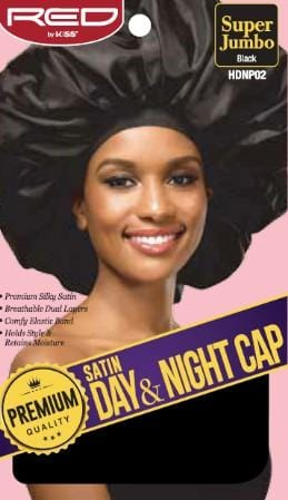 RED BY KISS SATIN DAY AND NIGHT CAP BLACK JUMBO HDNP02