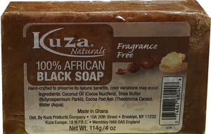 African Black Soap - Kuza Naturals Fragrance Free 100% African Black Soap 114 g