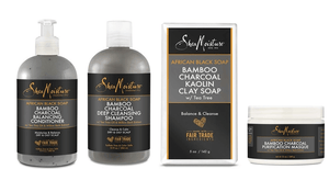 Shea Moisture African Black Soap Bamboo Charcoal verzorgingsset 4 stuks - Africa Products Shop