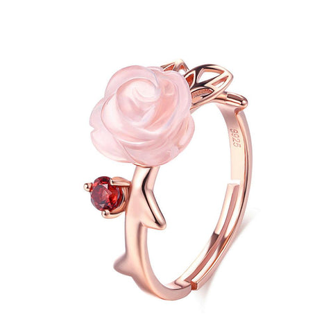 "Anello ""Delight of Love"" in quarzo rosa e argento 925"