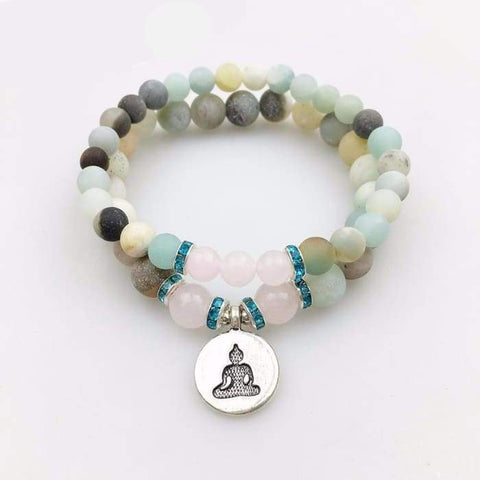 "Mala doppio braccialetto ""Happiness"" Rose Quartz & Amazonite"