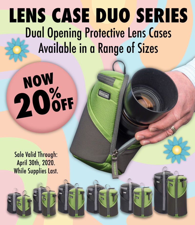 Lens Case Duo, dual opening lens cases available in a range of sizes to fit most DSLR and Mirrorless lenses