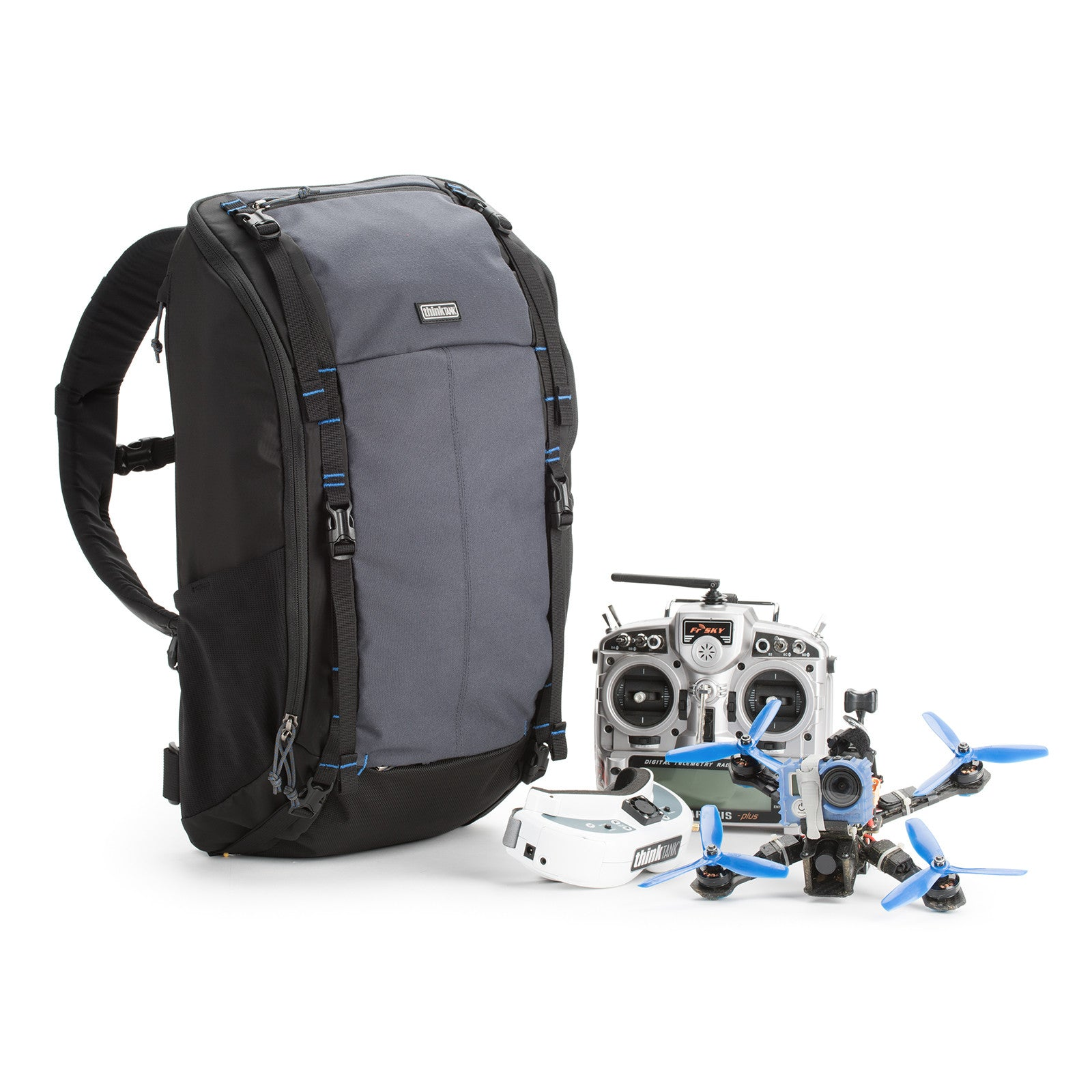 Fits 2-3 drones on the front of the backpack or with props removed, 2-3 on the inside of the backpack