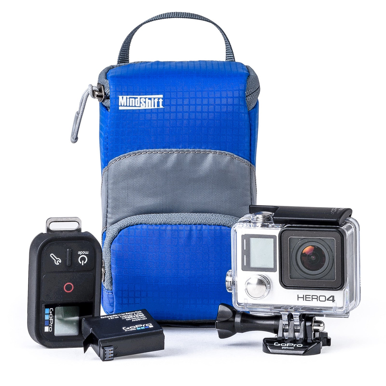 Fits 1 GoPro® or other action camera in housing with BacPac™, 2 batteries, 2 memory cards and remote.