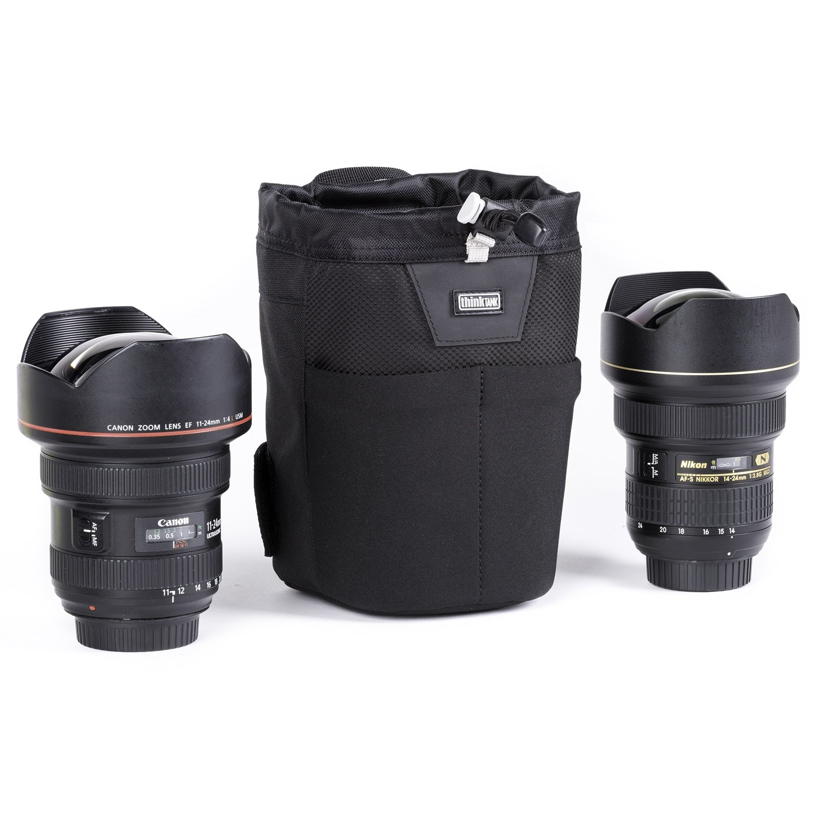 Fits wide-angle lenses with hoods in shooting position. Like 16–35mm f/2.8 or 11–24mm f/4 or 24mm f/1.4 or 14–24mm f/2.8 each with the lens hood in the shooting position