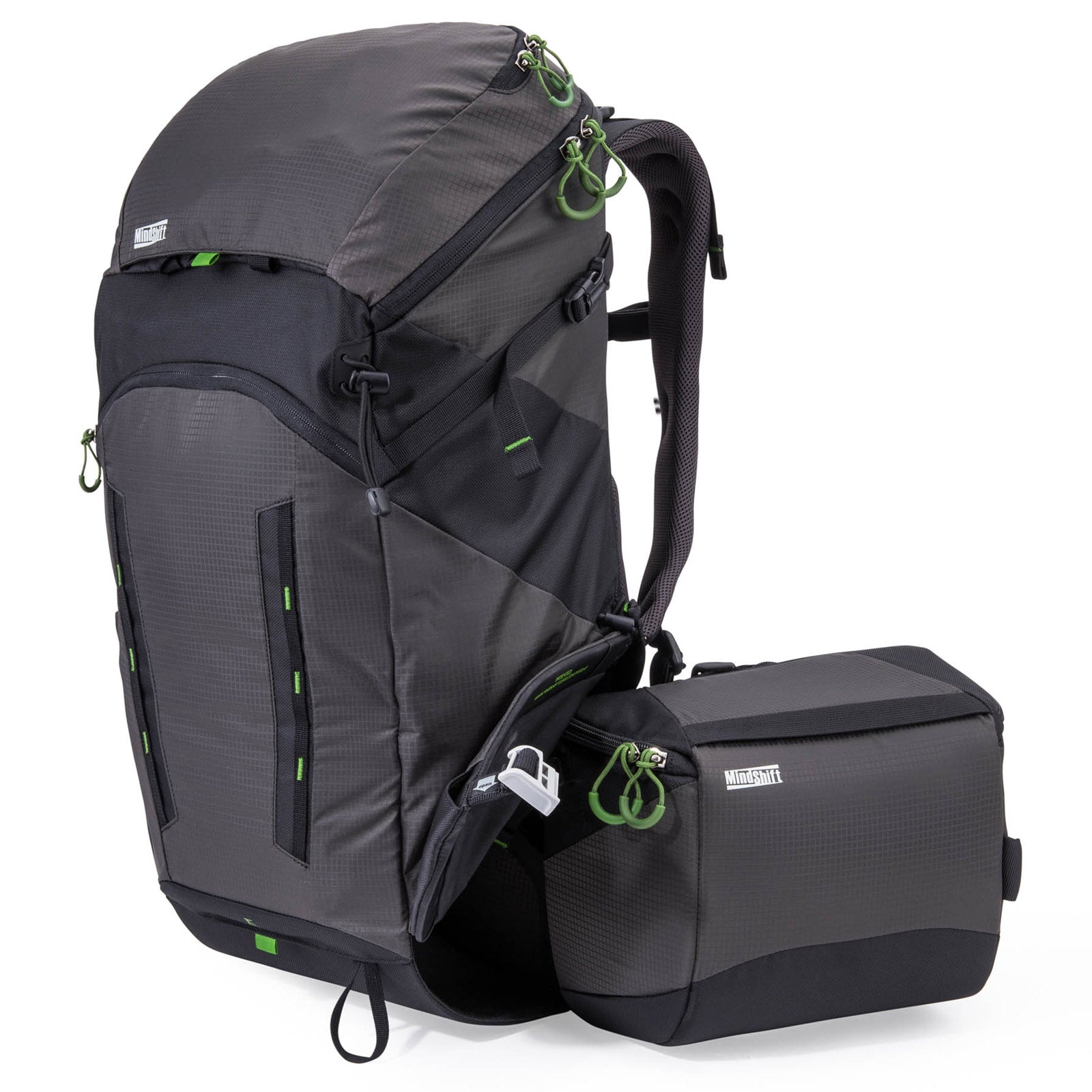 "Rotating beltpack for accessing your trail essentials: Camera, 10"" tablet, binoculars, maps, guidebook, and snacks"
