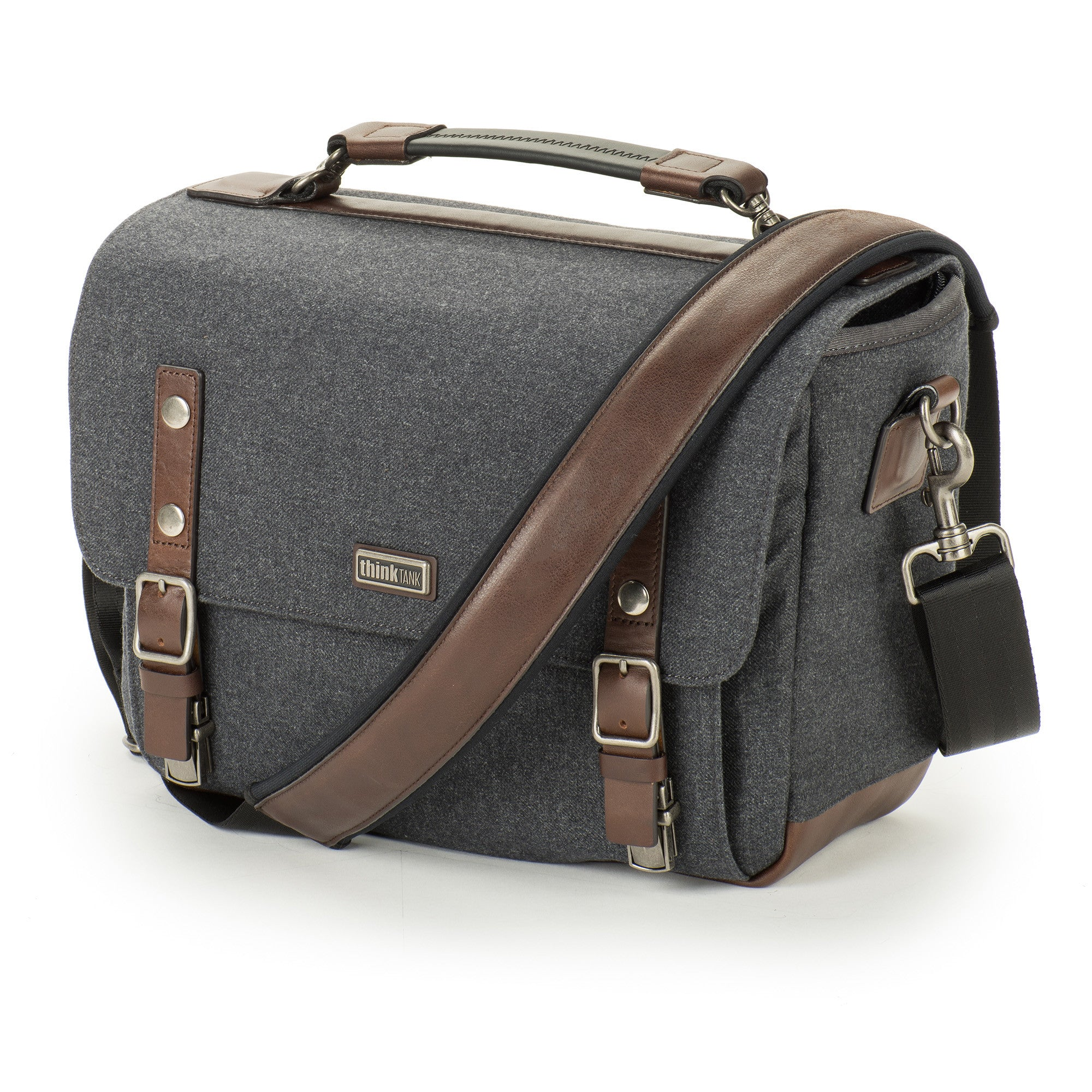 Full-grain leather bottom and detailing, plus antique finished metal hardware