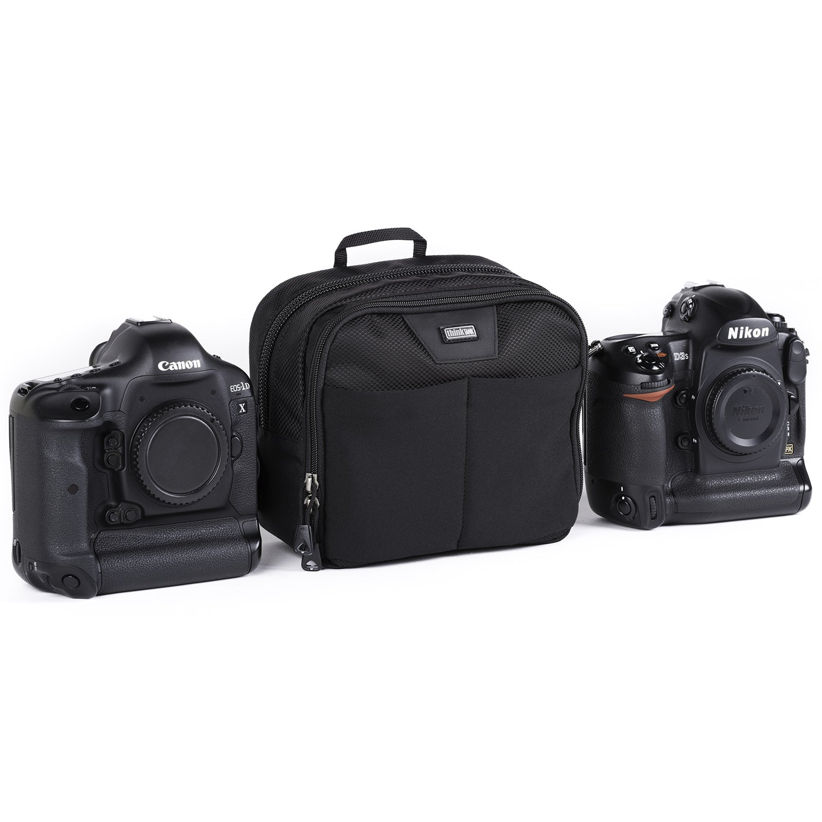 Utility bag for diverse carry options: most gripped DSLRs, 1–2 small lenses or 2 camera GoPro Kit