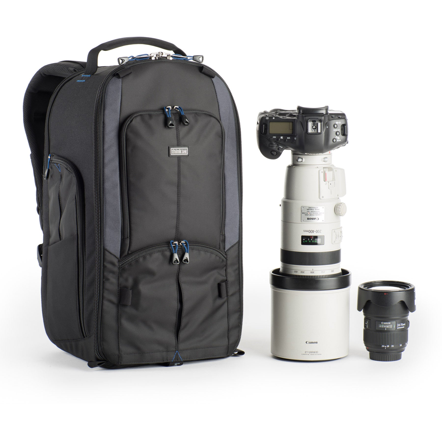Fits 2 bodies with lenses attached or a gripped body with a 200–400mm f/4 attached