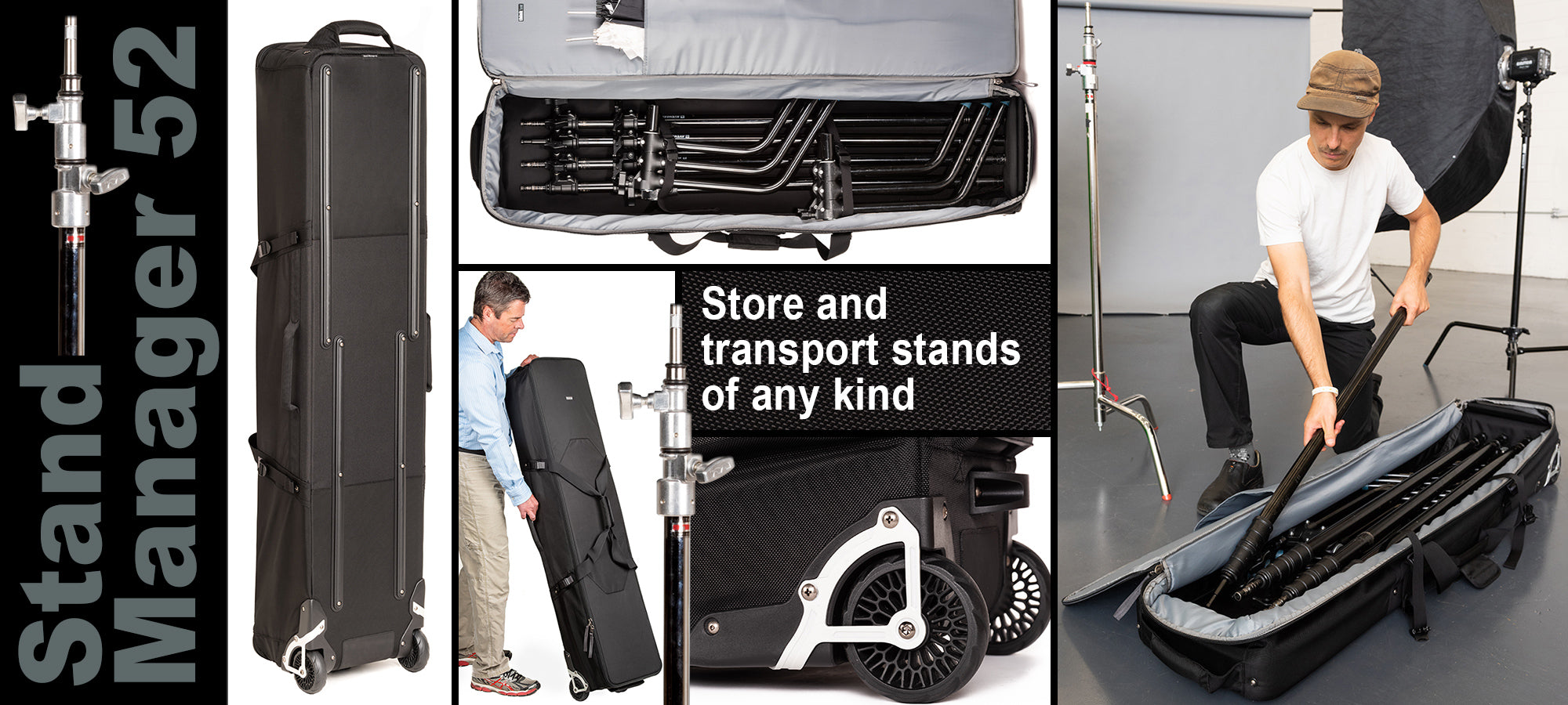 The Stand Manager 52 rolling case is an ideal solution for storing and transporting stands of any kind.