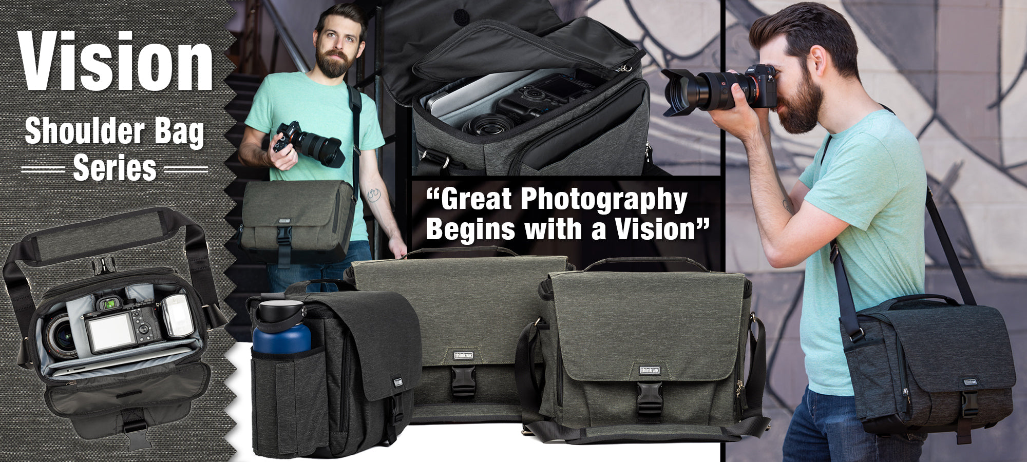 Sized for professional lenses, the Vision Shoulder Bag Series is designed not only for capacity but also for security.