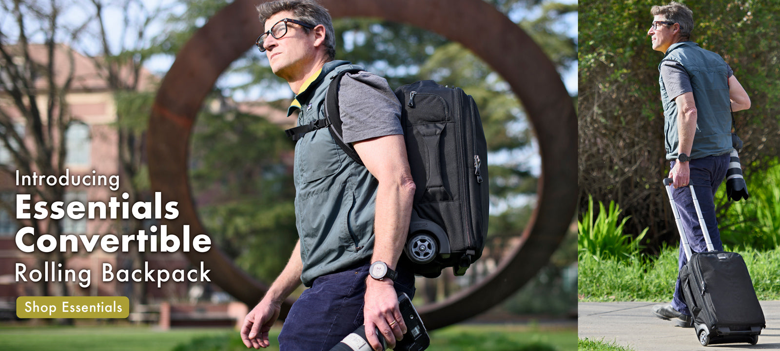 The Essentials Convertible rolling backpack goes where other rollers can't. Roll smoothly through the airport then deploy the backpack straps to carry over rough terrain.