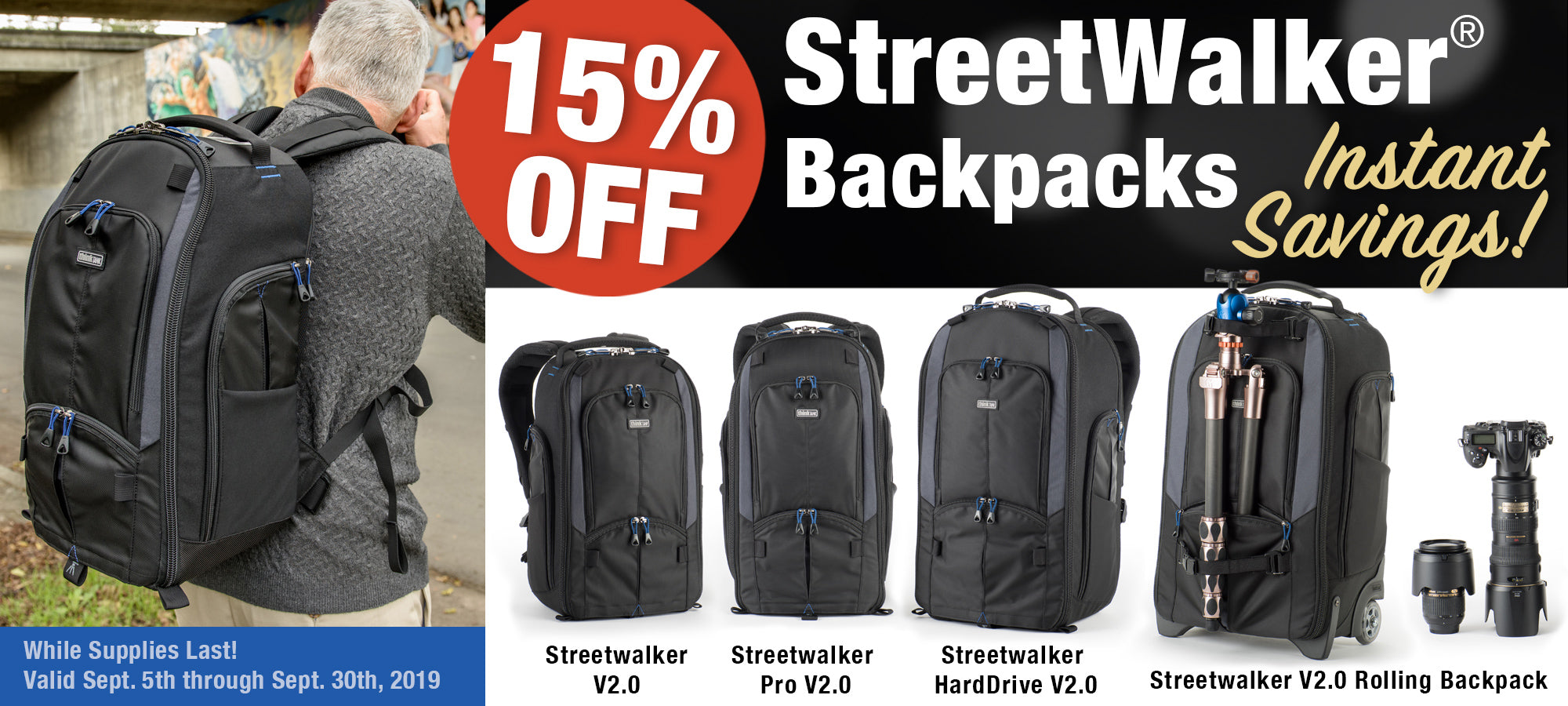 Move through a crowd with ease and carry all the camera gear you need. The StreetWalker backpacks' slim, vertical design creates a comfortable pack for all your gear and accessories.