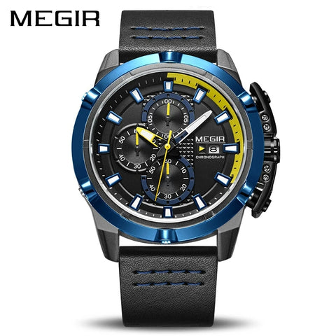Megir 2062 Quartz Working Chronograph Sport Watch for Men Waterproof Military Wrist Analog Watch - For Men