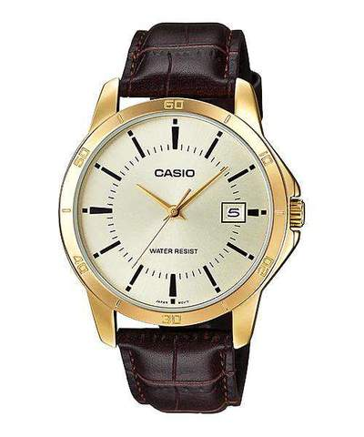 Casio MTP-V004GL-9A Brown Leather Watch for Men