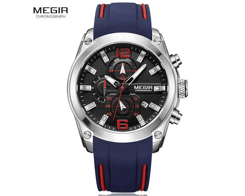 MEGIR 2063 Men's Chronograph Analog Quartz Watch, Silicone Strap Wristwatch