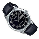 Casio MTP-V006L-1B2 Men's Black Leather Band Black Numbers Dial Day Date Analog Dress Watch