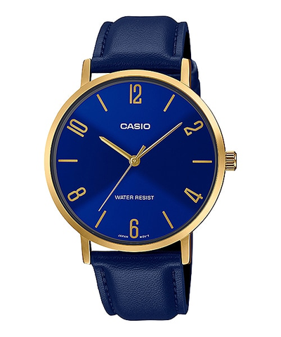 Casio MTP-VT01GL-2B2UDF Men's Gold Tone Blue Leather Band Blue Dial 3-Hand Analog Watch