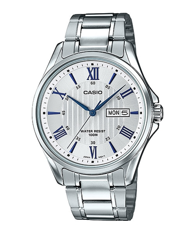 Casio Casual Watch For Men Analog Stainless Steel MTP-1384D-7A2VDF
