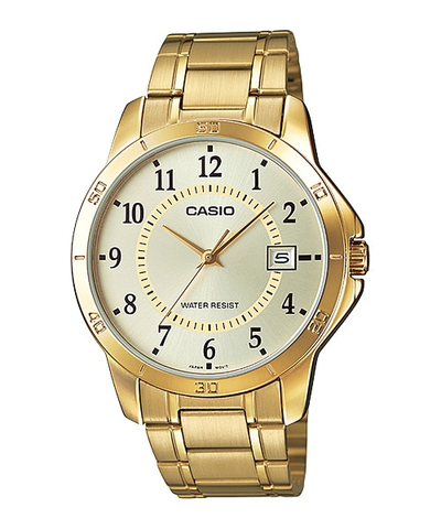 Casio MTP-V004G-9BUDF Men's Standard Gold Tone Stainless Steel Gold Dial Date Watch