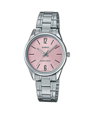 Casio LTP-V005D-4B Women's Standard Stainless Steel Pink Dial 3-Hand Analog Watch