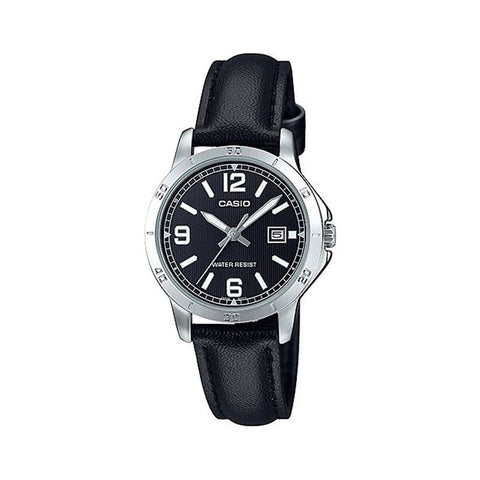 Casio LTP-V004L-1B Women's Black Leather Band Black Dial Date Analog Dress Watch