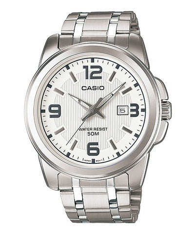 Casio Men's MTP-1314D-7AVDF Silver Stainless-Steel Quartz Watch with White Dial
