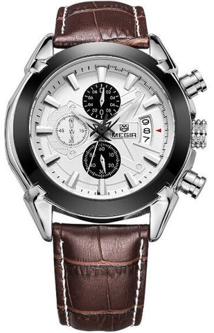 MEGIR 2020G Mens Military Wrist Watch Chronograph Multifunction 3ATM Waterproof Quartz (Brown)