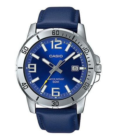 Casio MTP-VD01L-2BVUDF Men's Enticer Blue Leather Band Blue Dial Casual Analog Sporty Watch