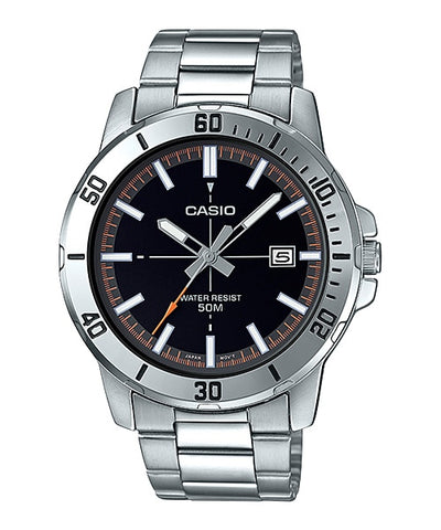 Casio MTP-VD01D-1E2V Men's Enticer Stainless Steel Black Dial Casual Analog Sporty Watch