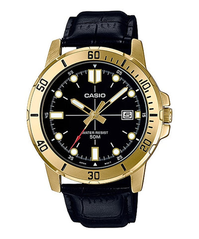 Casio MTP-VD01GL-1EVUDF Men's Enticer Gold Tone Leather Band Black Dial Casual Analog Sporty Watch