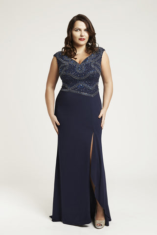 10022 - Navy Blue Embellished Evening Gown