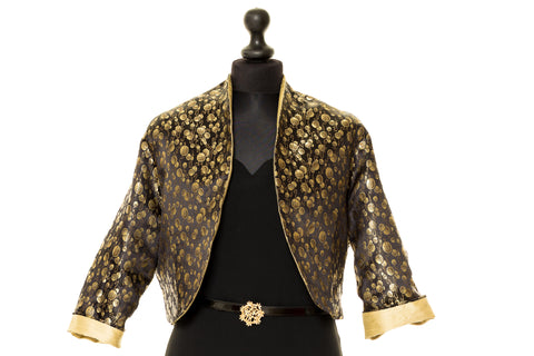 Rose - Black & Gold Chinese Silk Reversible Jacket