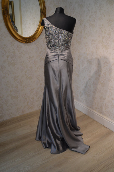 10046 - Tony Bowls Silver Evening Gown