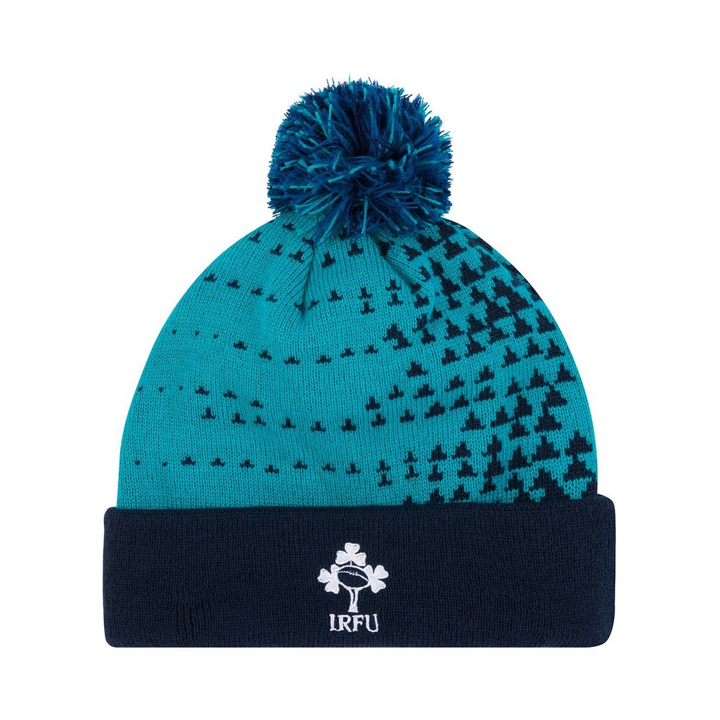 3cfea907a An acrylic Bobble Hat in Tile blue with the IRFU logo embroidered on the  front and the CCC and Sponsor s logo on the back. One Size
