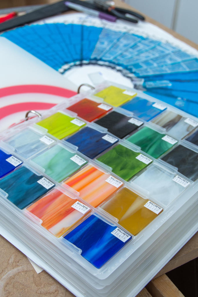 Glass swatches in the Ireland based studio of contemporary glassware maker Glass Art Ireland. Photo reference 3966