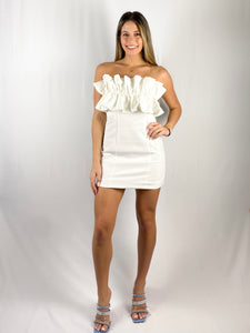 Always Ash Ruffle Mini Dress / White