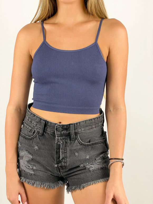 Madelyn Strappy Crop Tank / Navy