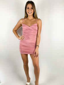 Claire Ruched Mini Dress / Pink