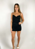 Claire Ruched Mini Dress / Black
