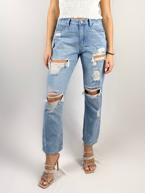 Cool Girl Light Wash Ripped Jeans