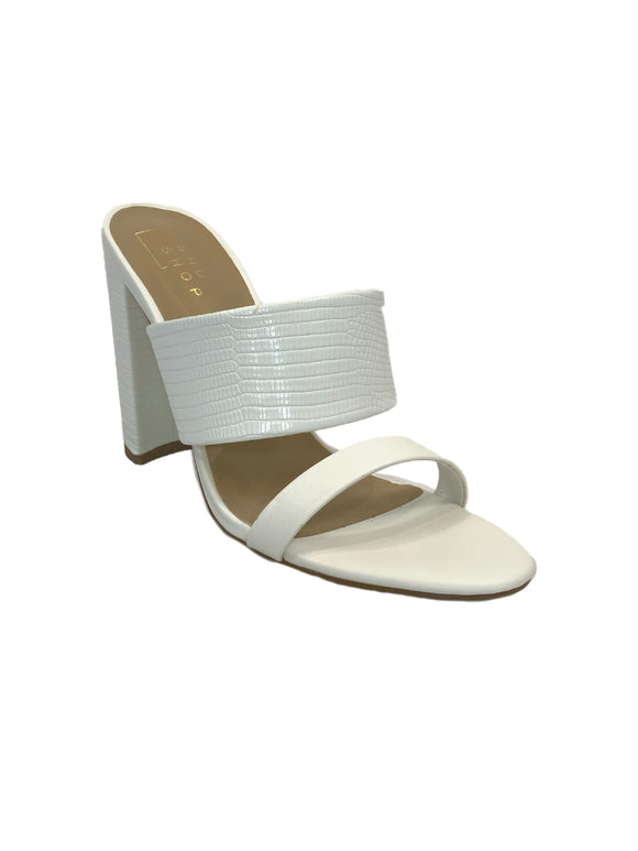 Step Aside Block Heel Mules / White