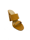 Step Aside Block Heel Mules / Camel