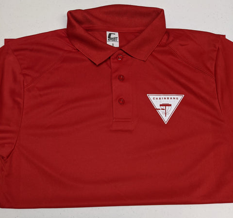 Chainbang - Red 'Chainbang Bar Logo' Dri-Fit Polo