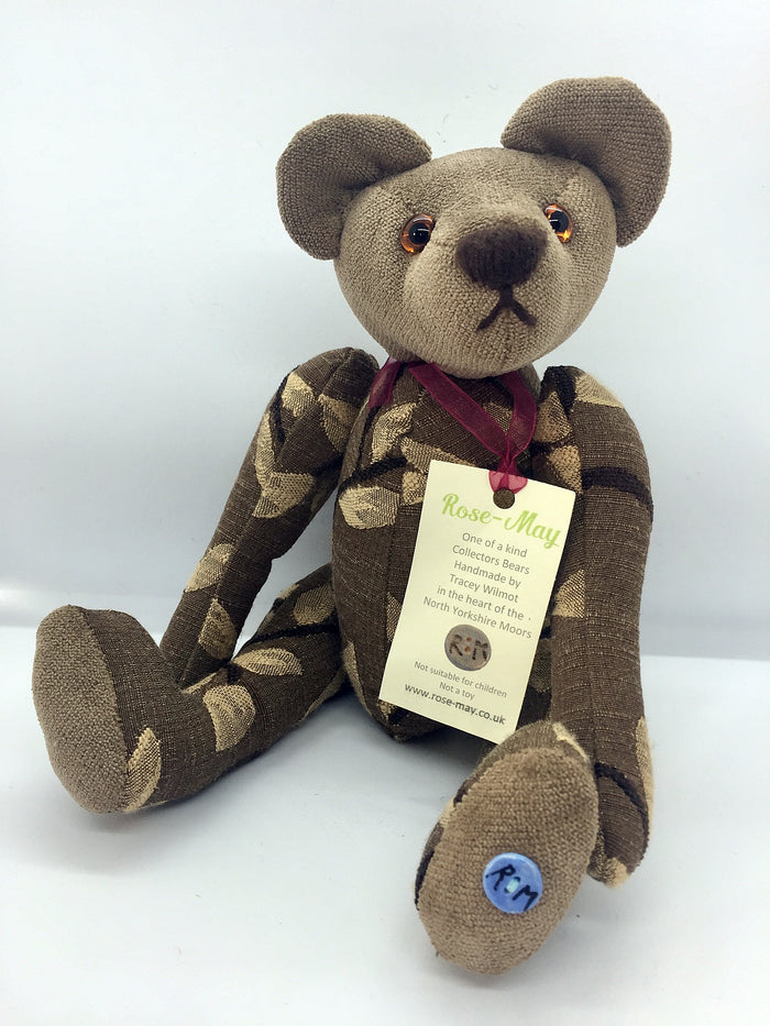 Brown patterned fabric bear